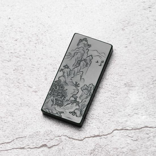 03207陆宜南和田玉青玉茅堂风雪声山水牌