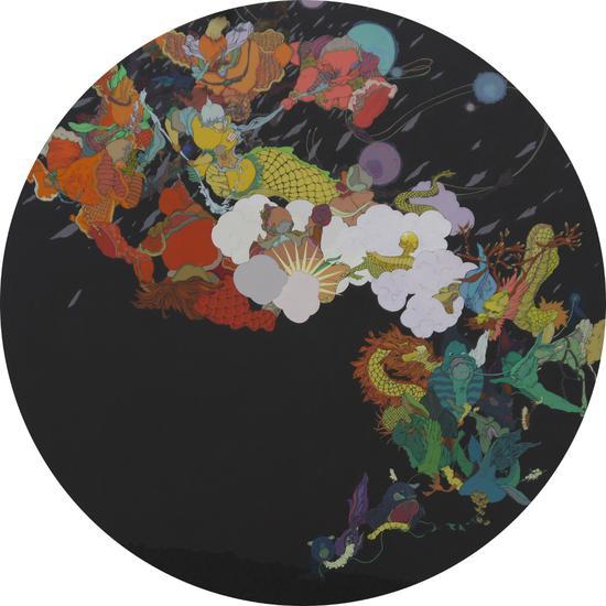 《风言风语记》180x180cm 布面丙烯 亢世新 2013