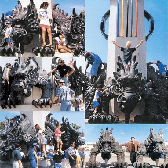 韩美林设计的美国亚特兰大第26届奥运会雕塑《五龙钟塔》,高9.6米,青铜、花岗岩铸造
