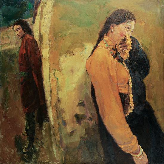 陈逸飞   西藏的男人和女人   布面油画   150×150 cm 2002