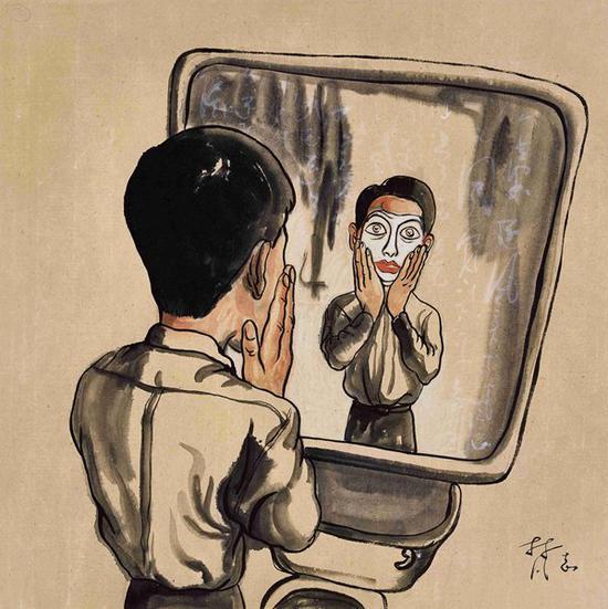 曾梵志 镜中面具 1999年 纸本彩墨 34×34 cm