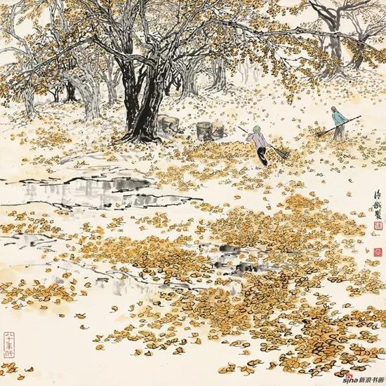 徐孅,金秋,20世纪80年代,69×69cm,纸本水墨设色,中国画