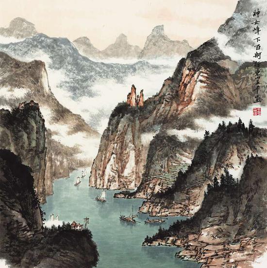 王平《神女峰下百舸行东山》69cm×69cm