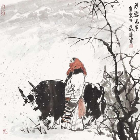 蔡超《风雪高原》70cm×70cm