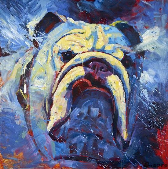 ▲狗之一 100 x 100 cm 丙烯