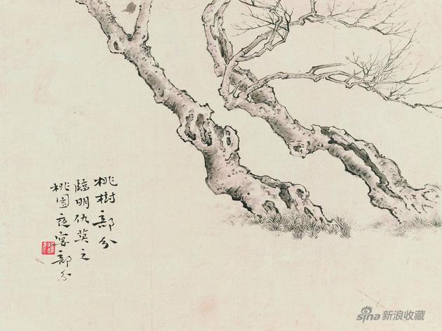桃树 27x35.5cm 题跋:桃树部分,临明仇英之《桃园夜宴》部分 钤印:雄才(白文) 22260087