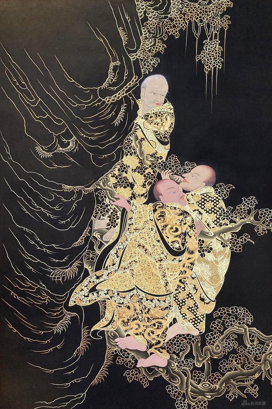 《山涧罗汉》,棉布矿物彩,来自弘唐文化