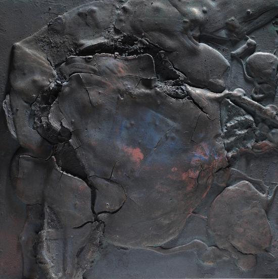 胡伟《黑漆古》系列 40x40cmx4 综合材料 2015年