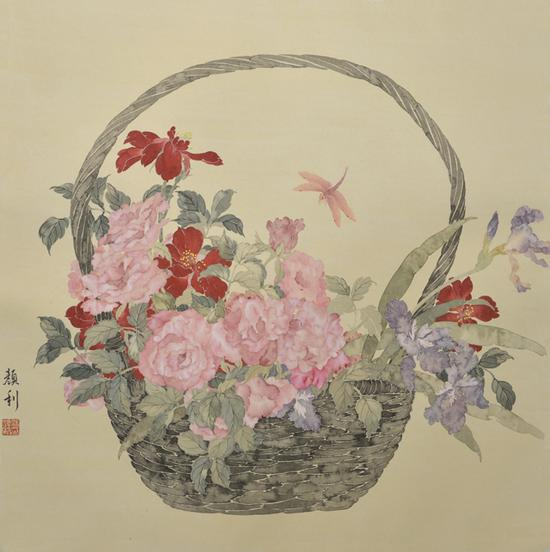 涂颜利,花篮花儿香,66X66cm,纸本设色,2017年