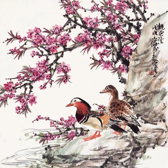 王玉山 桃花溪 68×68cm 纸本设色 2018