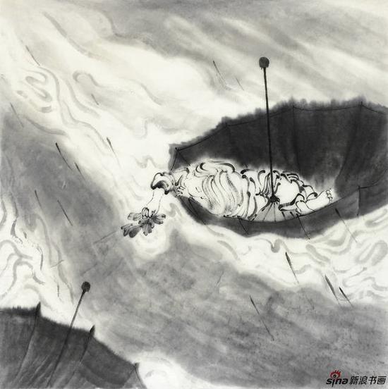 李亚光 《怀念塔希提》(穿越系列之六) 68X68cm 中国画 纸本水墨 2017