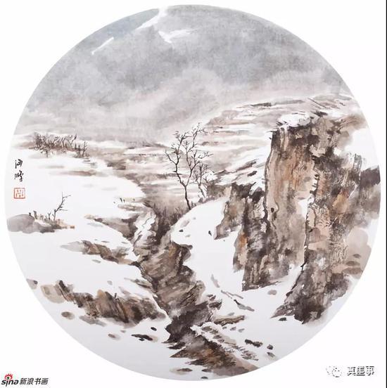 米海鹏《晴雪》42×42cm