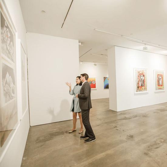 胡杨在画廊为嘉宾介绍展览