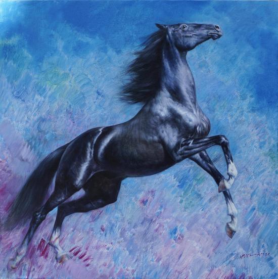 黑马之飞天120x120cm