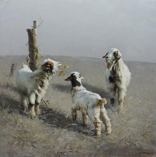 《三羊迎春》120x120cm、2013年