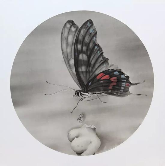 《蝶》 2018年 绢本水墨 直径:140cm