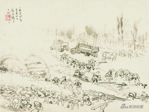 《张公堤上》 29×39cm 1954年 纸本水墨 岭南画派纪念馆藏