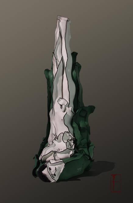 王立伟 《绿色劫难》之一 95x35x45cm 牛皮综合材料 2010