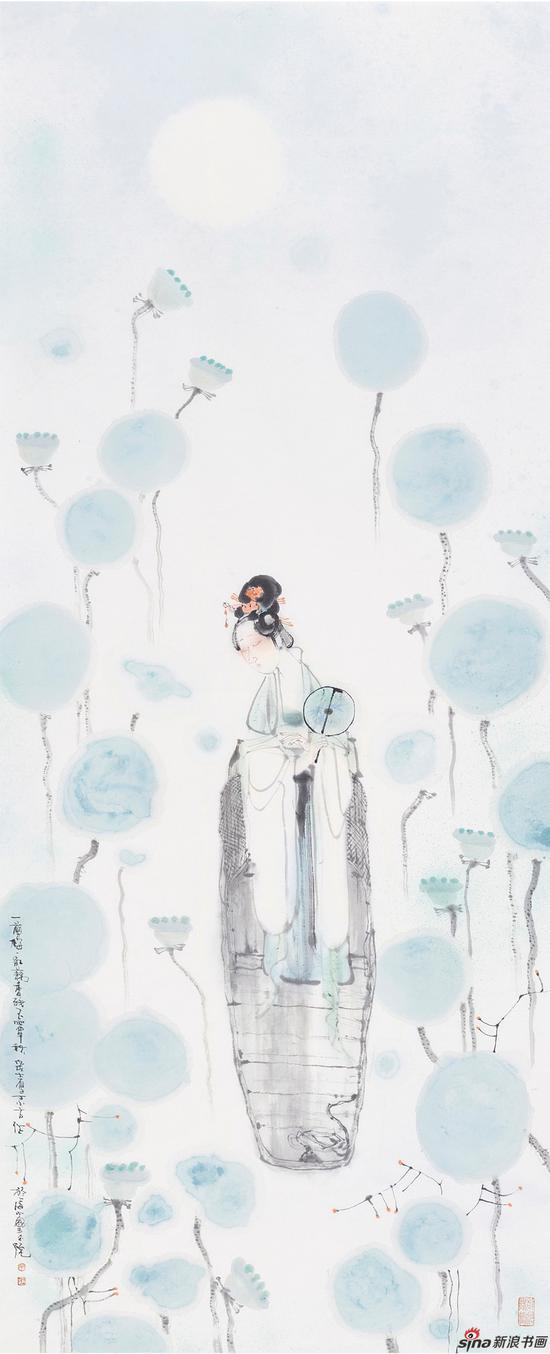 丁筱芳 一剪梅·红藕香残玉簟秋 138x56cm