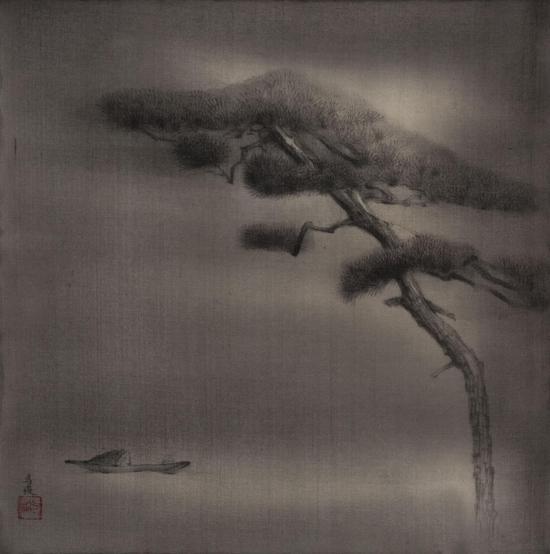 马俊,寒松锁月,20cm×20cm,绢本水墨,2017年