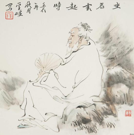 吴学峰作品《坐看云起时》34X34cm 2012年