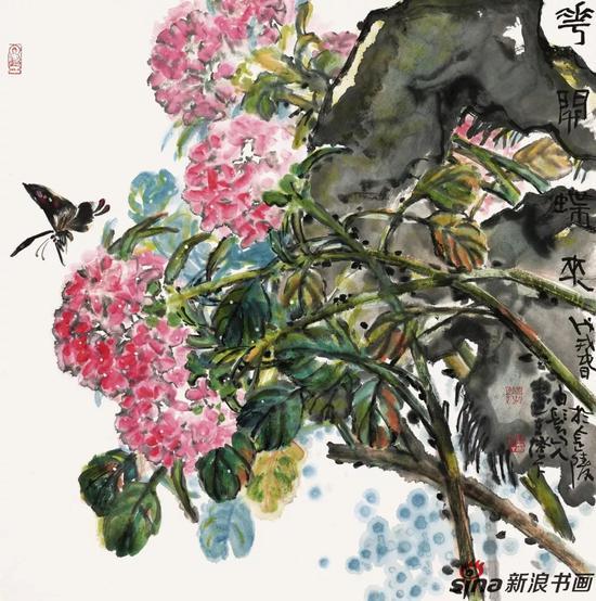 花开蝶来 69cm×69cm