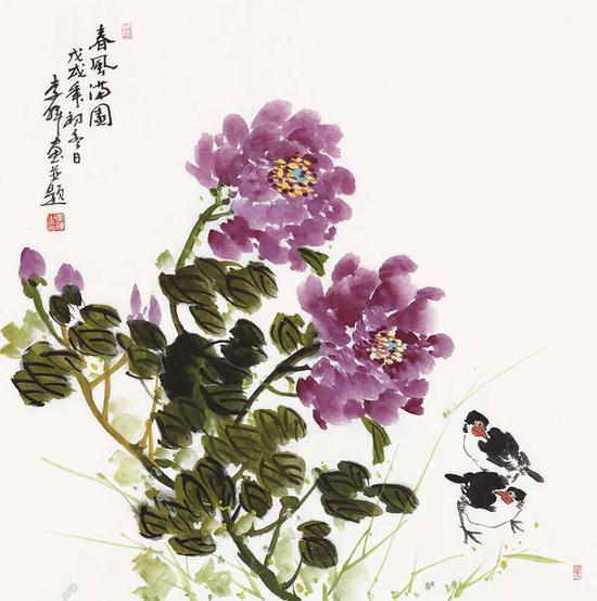 李晖《春风满园》70cm×70cm