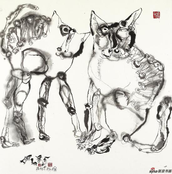 猫系列 124cm×124cm 宣纸 2018