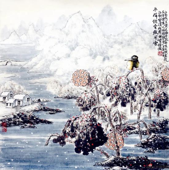 冬荷铁骨傲风雪(69×69厘米,2013年)