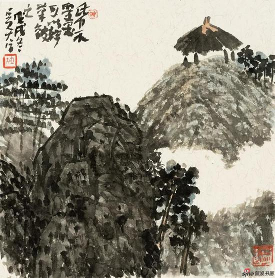 王迎春作品《青峦茅亭》 32cm × 32cm 2018