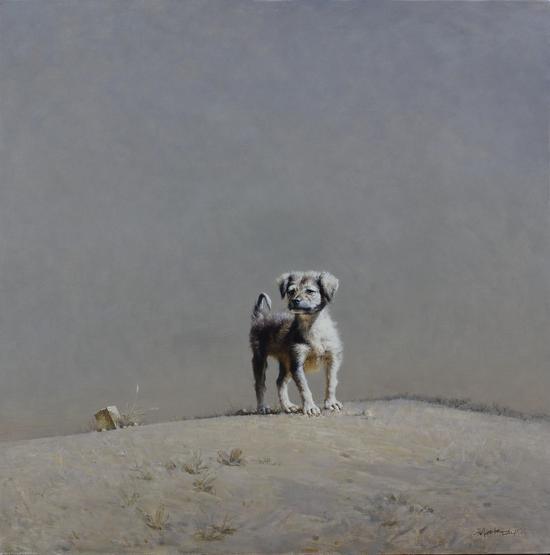 迷路的小狗120x120cm2015年