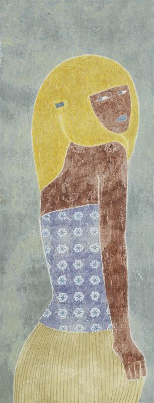 蓬蓬的黄头发-郭海潮-纸本设色-35cmx90cm-2014