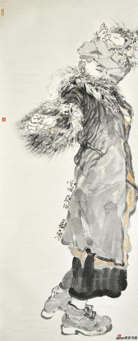 李亚光《暖冬》172X69cm 中国画 纸本设色 2018