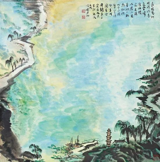 诚轩13秋编号496拍品陆俨少《星湖春色》以132.25万元高价成交。陆俨少的泼彩只在1983、1984年昙花一现,这绝不是个巧合。