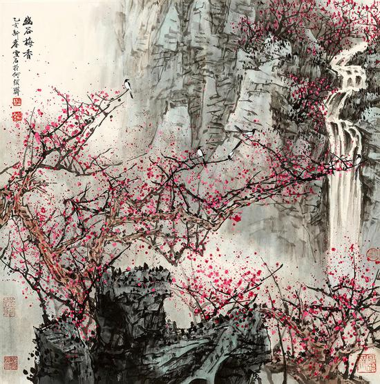 白雪石 幽谷梅香 67×66.5 cm