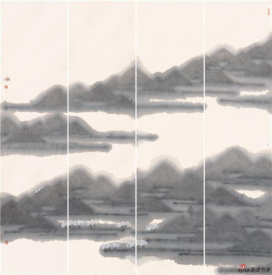 雨嶂烟峦翠欲流139×34cm×4·2018年