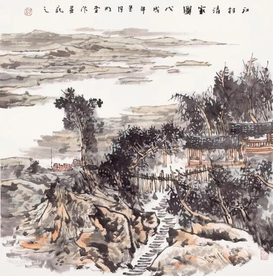郭明堂 江村清寂图 68x68cm 纸本设色 2018