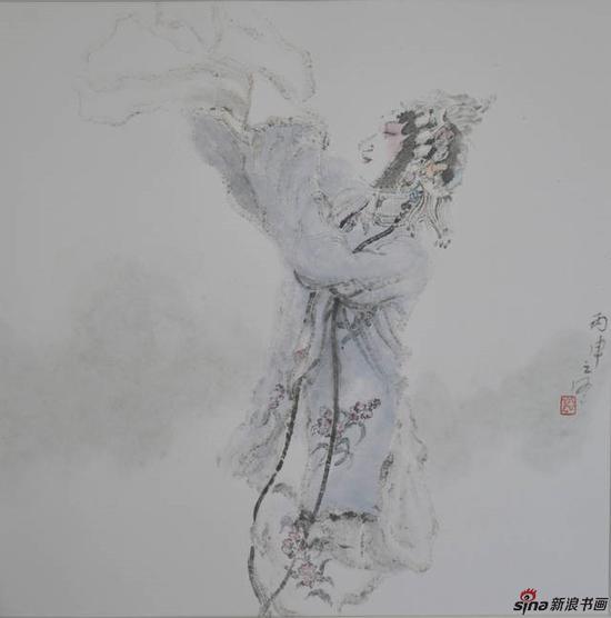 李亚光《昆曲人物》50×50cm 中国画 纸本设色 2016