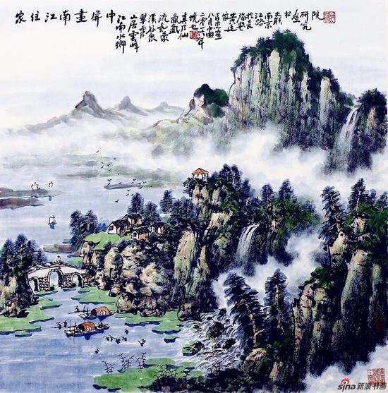 家住江南画屏中(69×69厘米,2016年)
