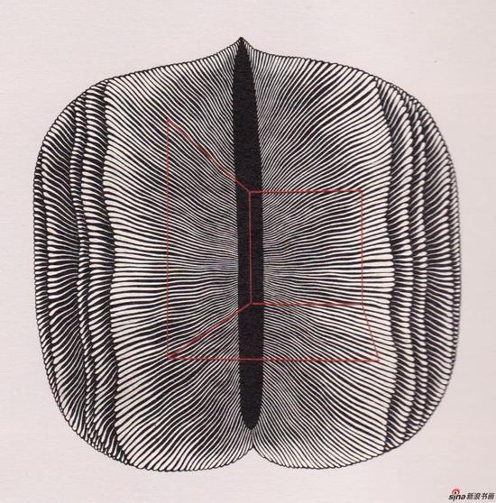 《缝》,1994年,65*65cm,木刻版画