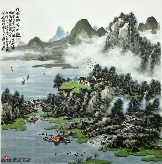 《皖南山乡画中游》,69cmX69cm,2016年,黄廷海作