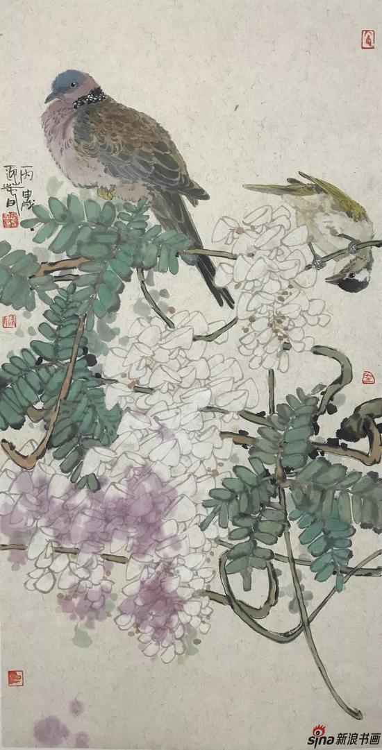 紫藤双栖 设色纸本 70×36cm