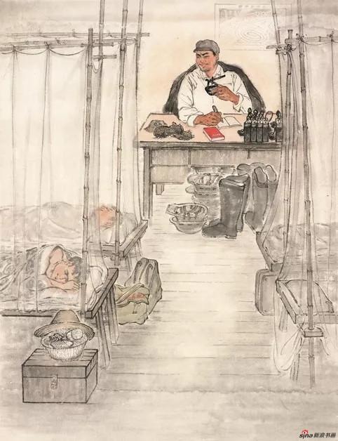 徐孅,夜读,20世纪50年代,88.5×68cm,纸本水墨设色,中国画