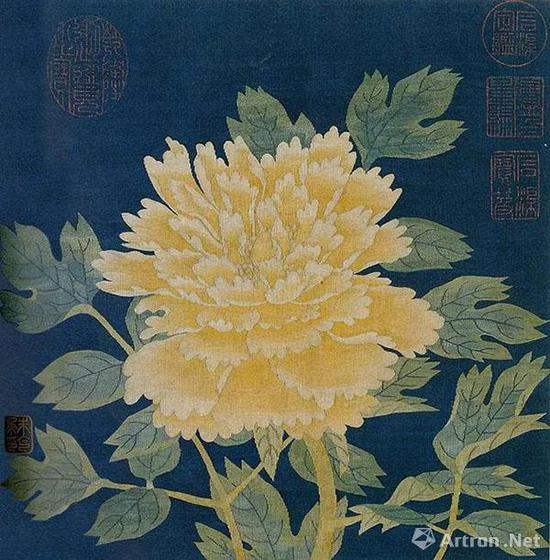 南宋 朱克柔 牡丹图册页   纵23.2厘米,横23.8厘米   辽宁省博物馆藏