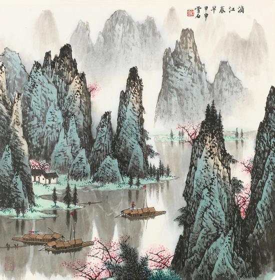 白雪石 漓江春早 68×68 cm