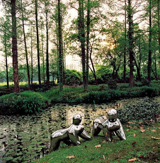 水,树林雕