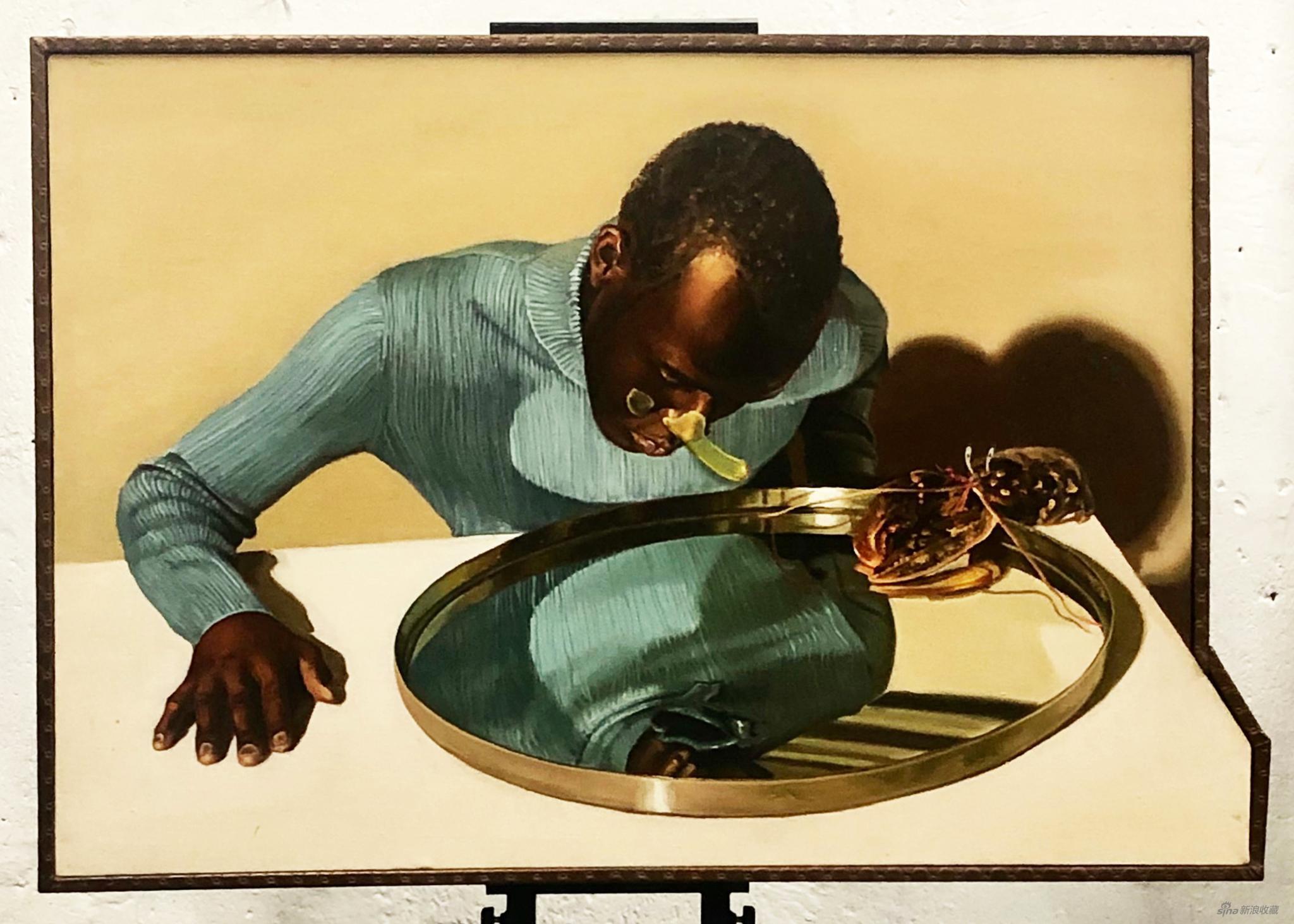 《书信―龙虾与少年》,80×60CM,布面油画,2019