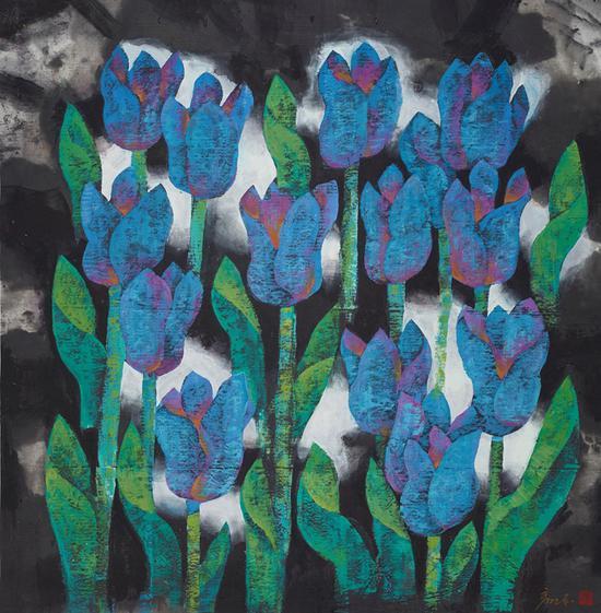 5 彦东 《蓝色郁金香》 纸本重彩 90×90cm 2001年