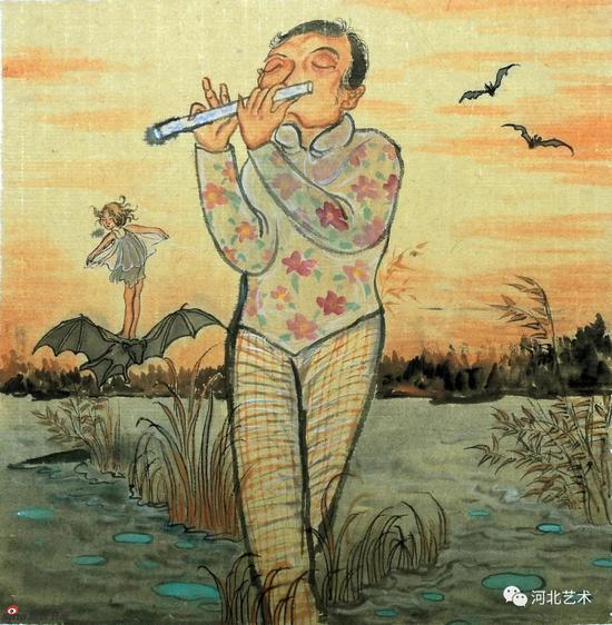 《黄昏下的浪漫》 45x41cm 纸本水墨 2013