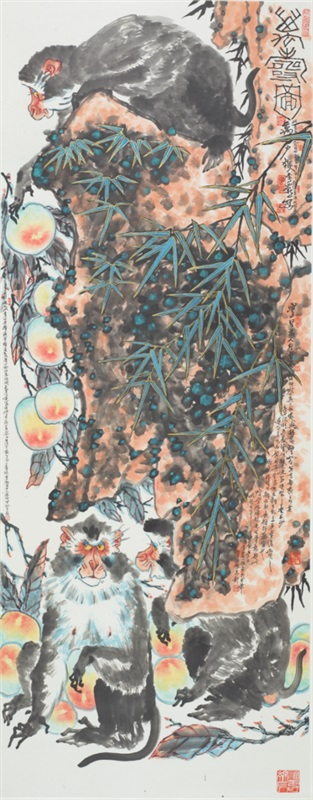 2 李燕 《万寿图》 纸本水墨设色 178x69.5cm 2017年